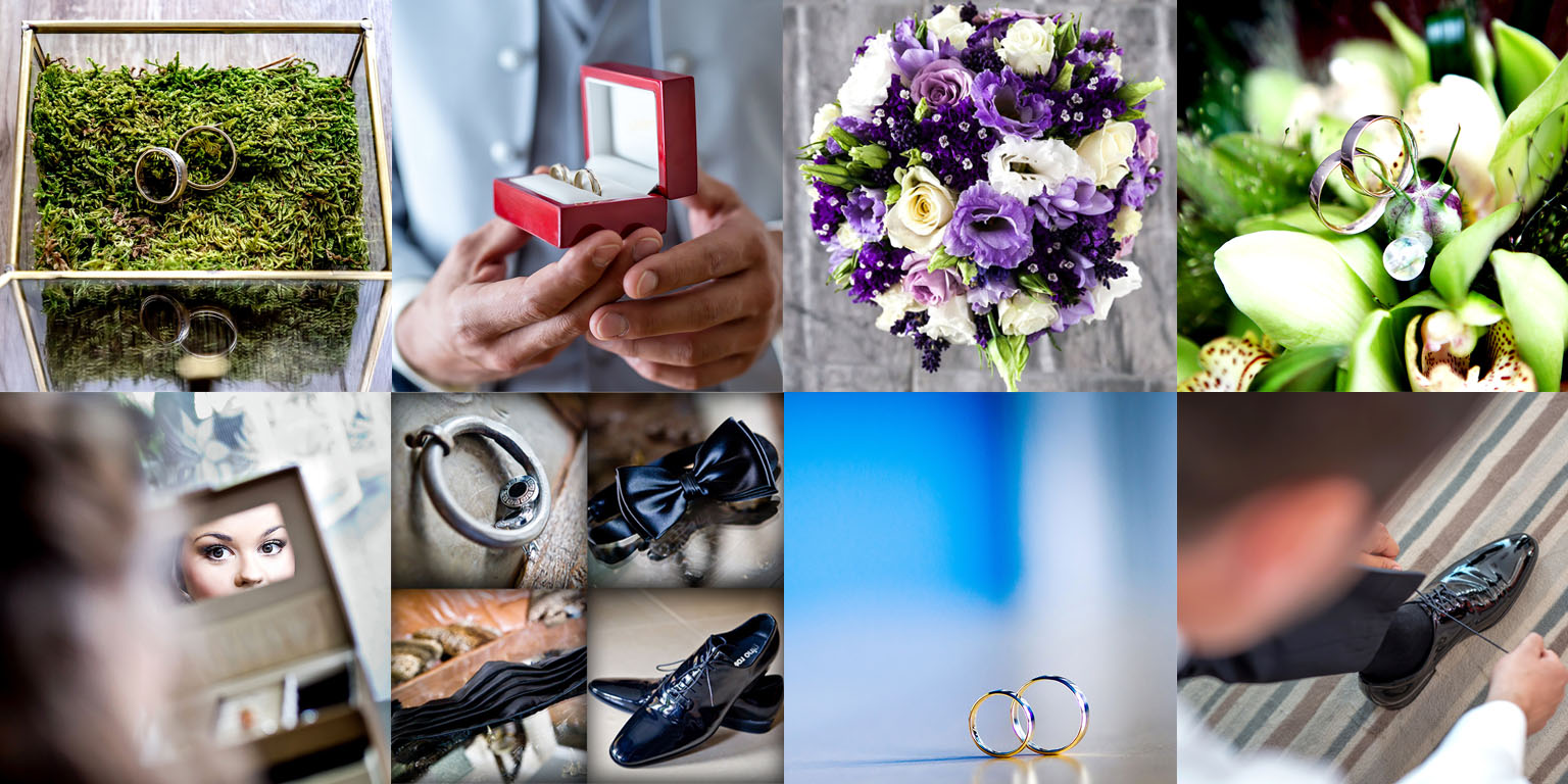 Film i fotografia ślubna. Fotografia ślubna przygotowania do ślubu i wesela. Kolaż zdjęć detali ubrania pani i pana młodego.